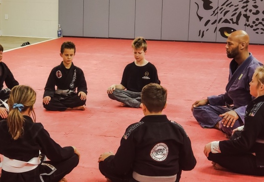 Students and teacher at a martial arts class